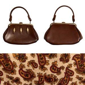 1970s Brown Vinyl Paisley Lined Boho Handbag Purse